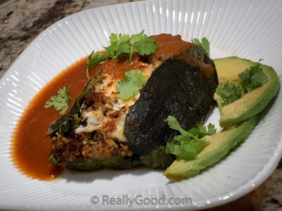 Chile Relleno stuffed with quinoa and cheese