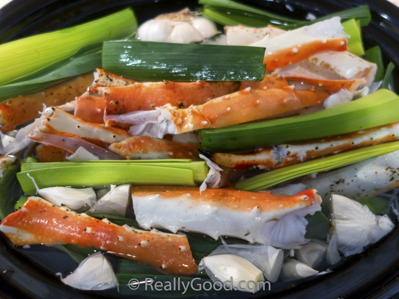 Crab Stock from Crab Leg Shells in a Slow Cooker
